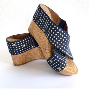 Lucky Brand Blue Studded Cork Wedge Sandals